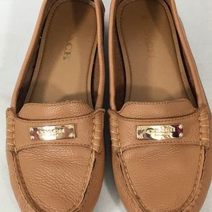 COACH Fredrica Tan Ginger Pebbled Leather loafers